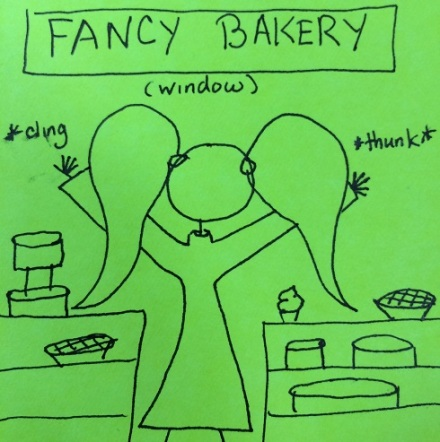 Smooshing your face up against the window glass of a fancy bakery is a very professional thing to do.