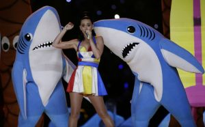 This image is courtesy of mlive.com - Click to read just one of the many fabulous stories on the sharks. Specifically, Left Shark, hero of the Internet.
